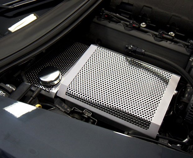 2014 2019 c7 corvette fuse box cover perforated stainless. Black Bedroom Furniture Sets. Home Design Ideas