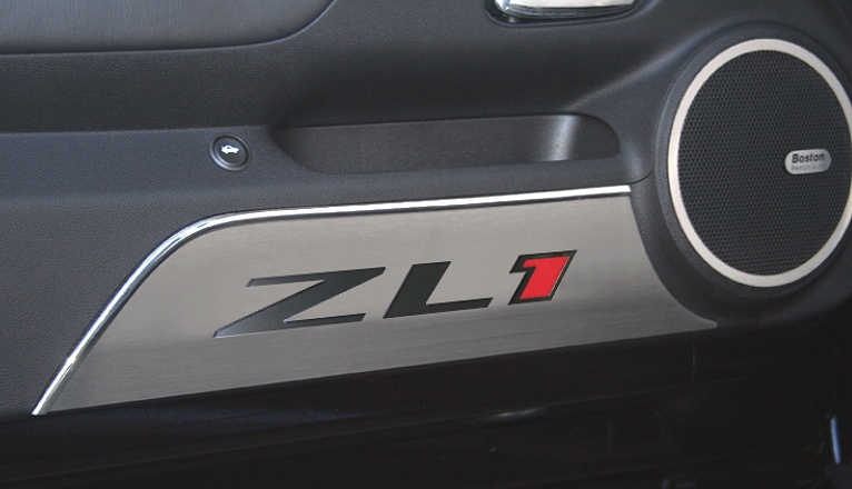 2012-2014 Camaro ZL1 Brushed Door Kick Plates with Logo