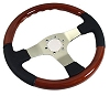 C3 Corvette Black Leather and Mahogany/Polished 3 Spoke Steering Wheel