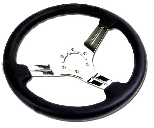 1968-1982 C3 Corvette Black Leather/Chrome 3 Spoke Steering Wheel