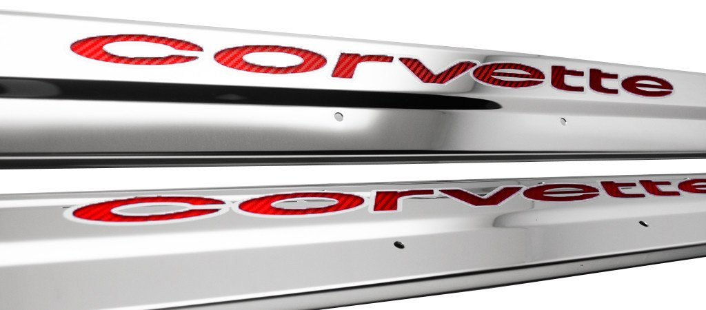 1978-1982 C3 Corvette Door Sills Polished Stainless w/Carbon Fiber Inlay
