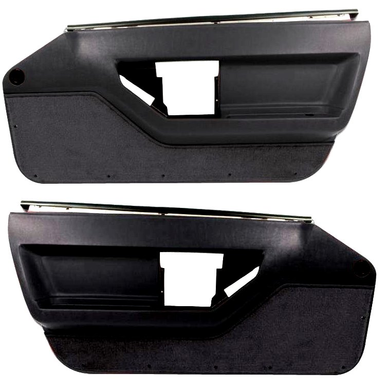 1984-1989 C4 Corvette Interior Deluxe Door Panels Black Pair