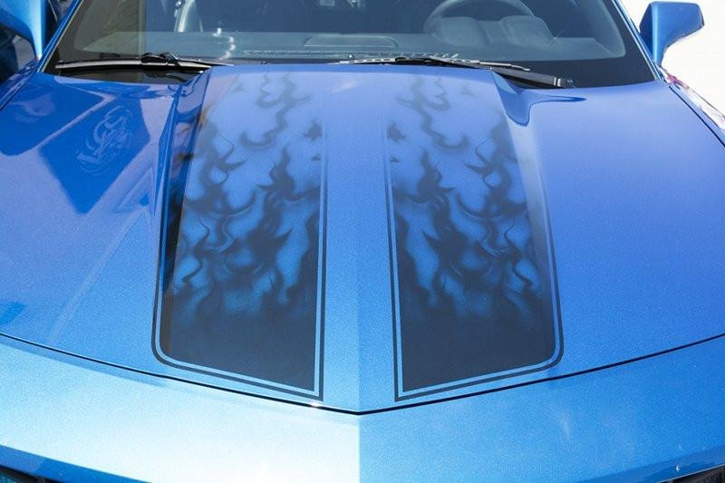 "2010-2013 Camaro - Vinyl Decal ""AirBrushed"" Gradient Flame Rally Stripe 4Pc"