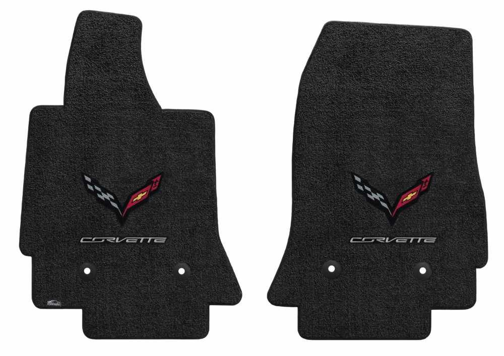 C7 Corvette Carbon Fiber Flag with Corvette Lettering Floor Mats Double Logo