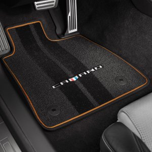 2016-2019 Camaro Interior Floor Mats w Mojave Binding and Camaro logo