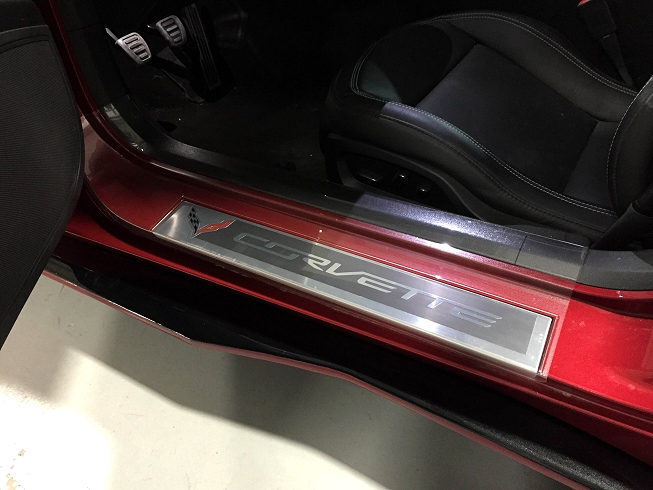 2014 C7 Corvette Stingray Clear Door Sill Kick Plates