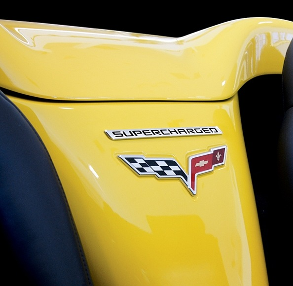 Supercharged Mustang Yellow: C6 Corvette Billet Supercharged Emblem