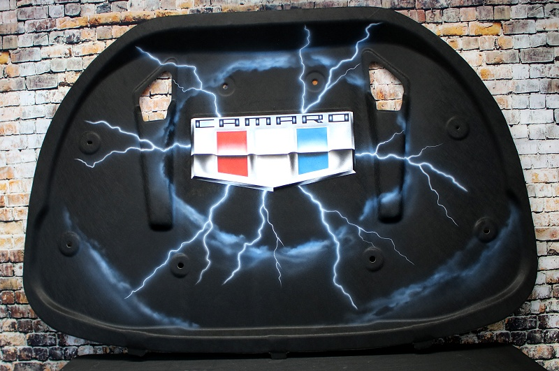 2016-2018 Camaro AirBrushed Hood Liner - Lightning Bolts