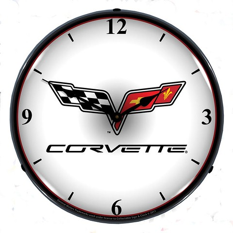 C6 Corvette - BACKLIT CLOCK - C6 EMBLEM - LIGHTED