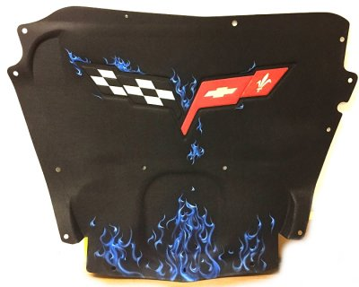 C6 Corvette Airbrushed Hood Liner with Blue Flames