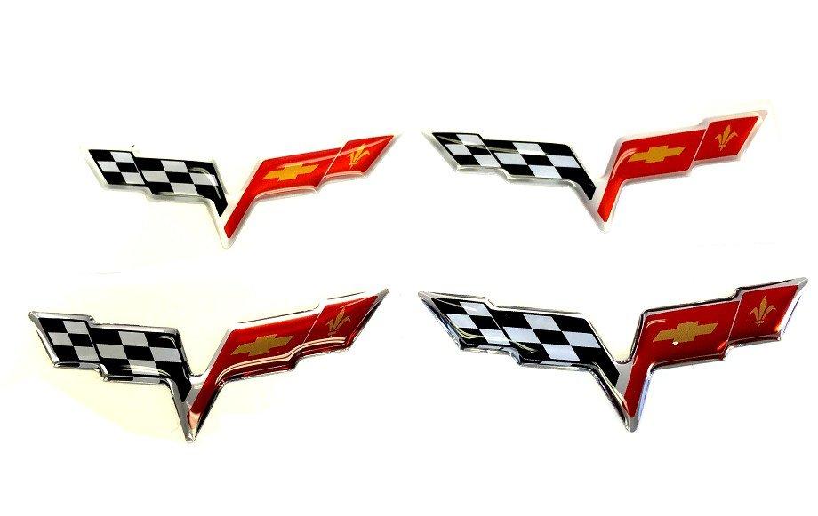 C6 Corvette Flag Domed Wheel Center Caps Decal Kit 2pc