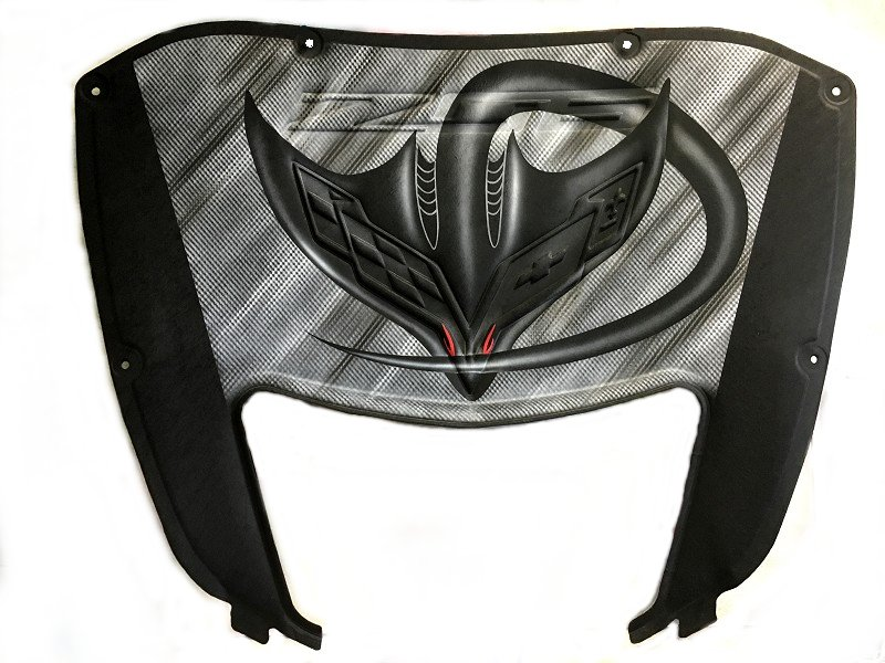 C7 Corvette and Z06 Airbrushed Hood Liner - Ray w/Color Eyes