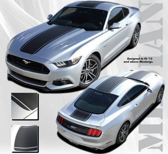 2015-2017 Ford Mustang Median Hood Roof and Deck Stripe