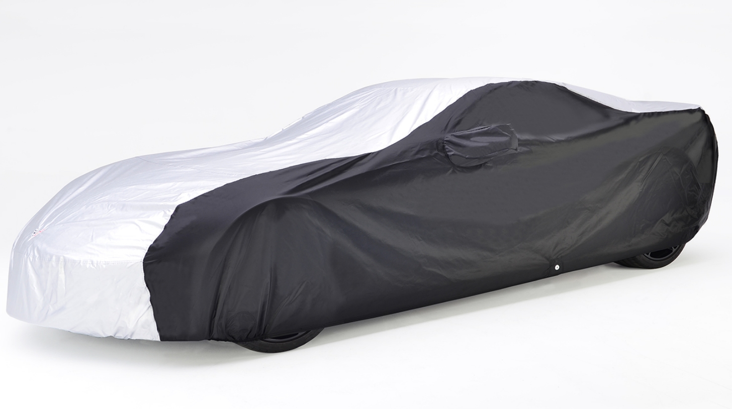 C7 Corvette Intro-Guard Silver and Black Car Cover With Flag Logo