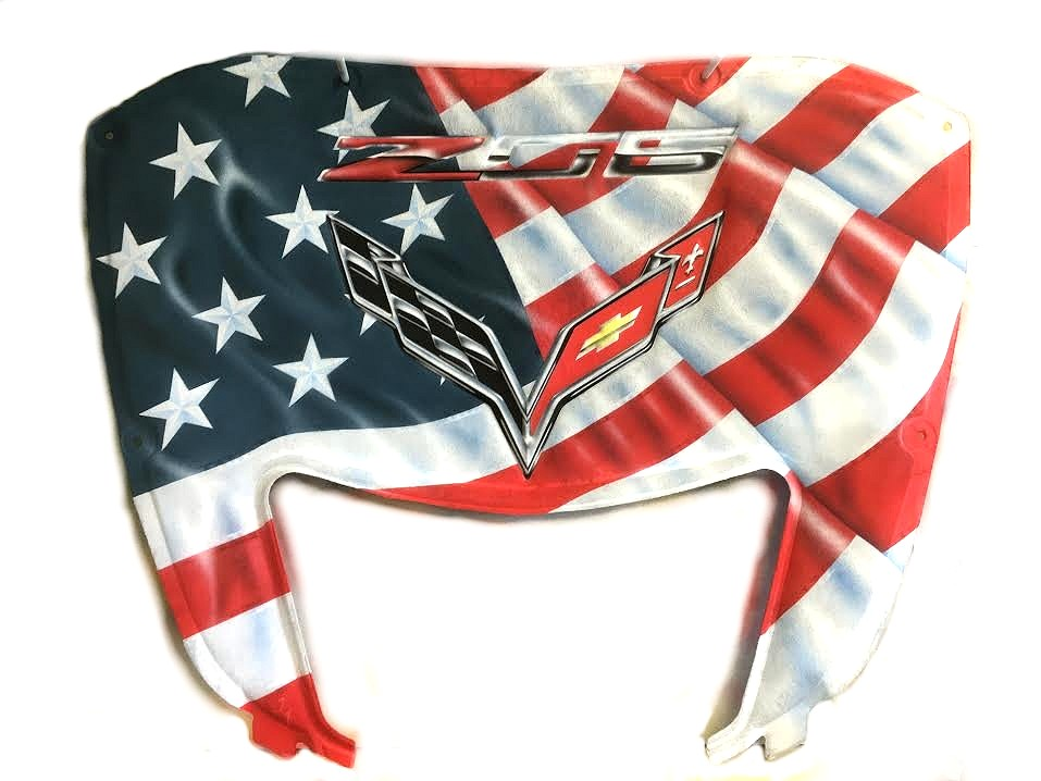 C7 Z06 and Stingray Corvette Custom Airbrushed Hood Liner - American Pride Style