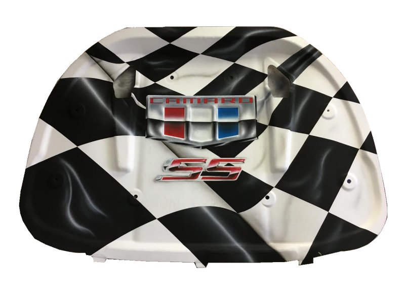 2016-2018 6th Generation Camaro Airbrushed Hood Liner w/Checkered Design