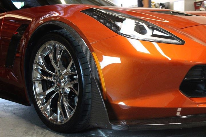 C7 Corvette Z06 APR Carbon Fiber Front Fender Wheel Well Extensions