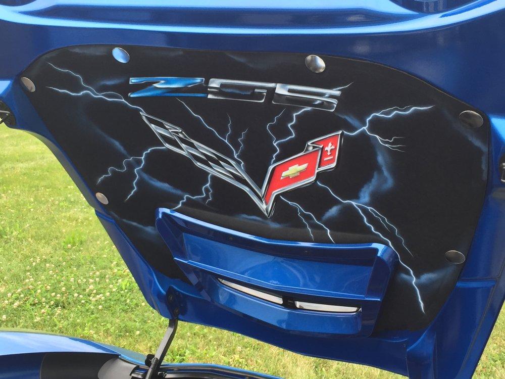 C7 Corvette Z06 Airbrushed Hood Liner Lightning Scene
