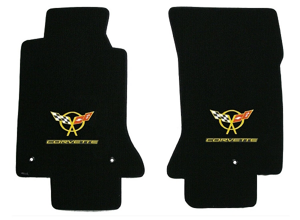 C5 Corvette Lloyd Classic Loop Front Floor Mats Double Logos Yellow