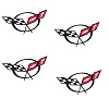 1997-2004 C5 Corvette Center Cap Wheels Decals Kit 4pc