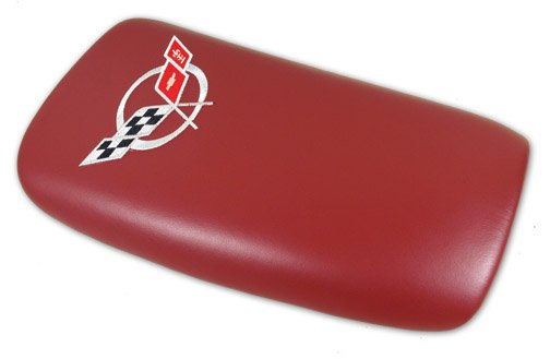 1997-2004 C5 Corvette Embroidered Console Lid Red with Silver Logo