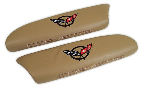 1997-2004 C5 Corvette Leather Armrest Pads With C5 Logo Oak