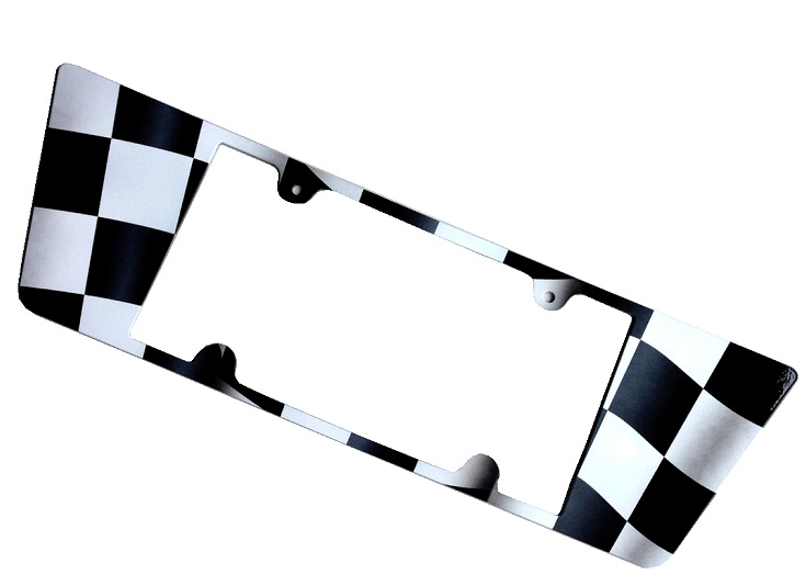 C6 Corvette License Plate Frame - Checker Flag Airbrushed