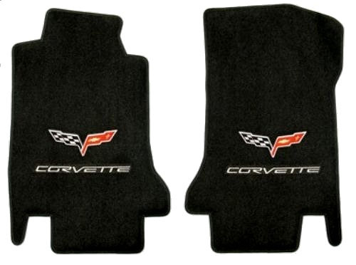 C6 Corvette Lloyd Front Floor Mats w/Flag Logo and CORVETTE