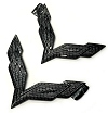 C7 Corvette Carbon Fiber Crossed Flag Emblems Set
