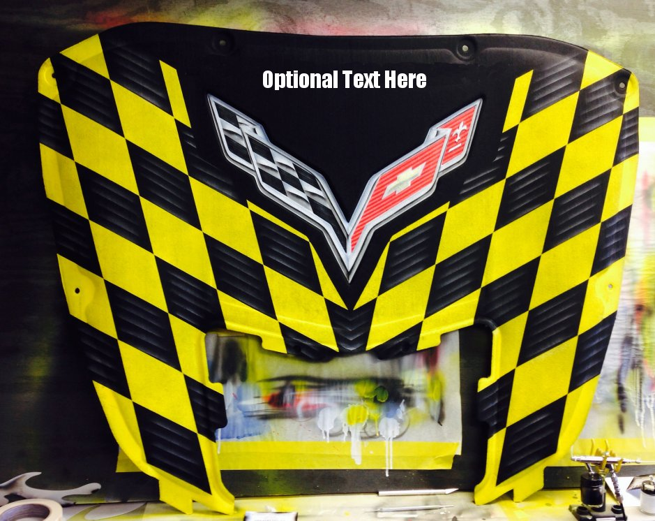 C7 Corvette Stingray AirBrushed Hood Liner w/Checkered Pattern