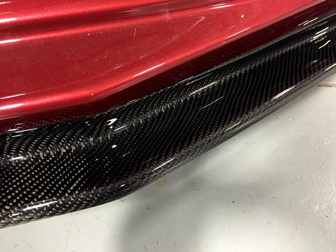 Close up view of Carbon Fiber Front Splitter