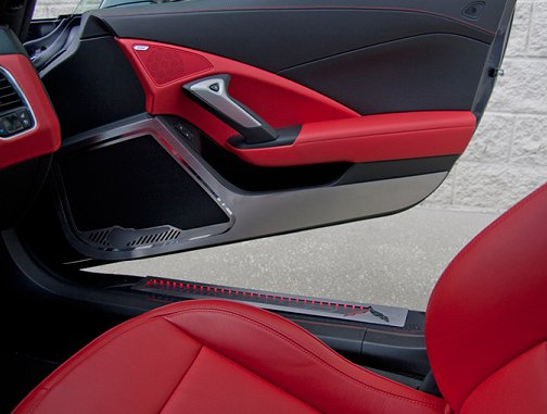 C7 Corvette Stingray Door Guards Kick Plates w/STINGRAY Logo & C7 Corvette Stingray Door Guards Kick Plates w/Carbon Inlay ...