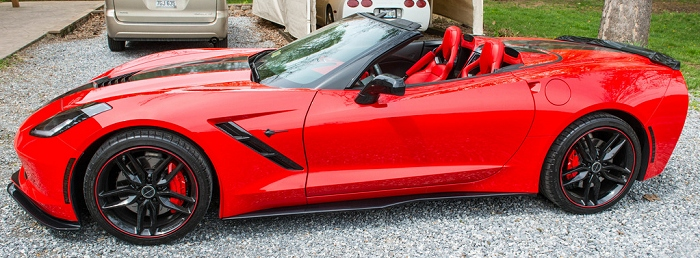 Side View of C7 Stage 2 front splitter and z06 side skirts