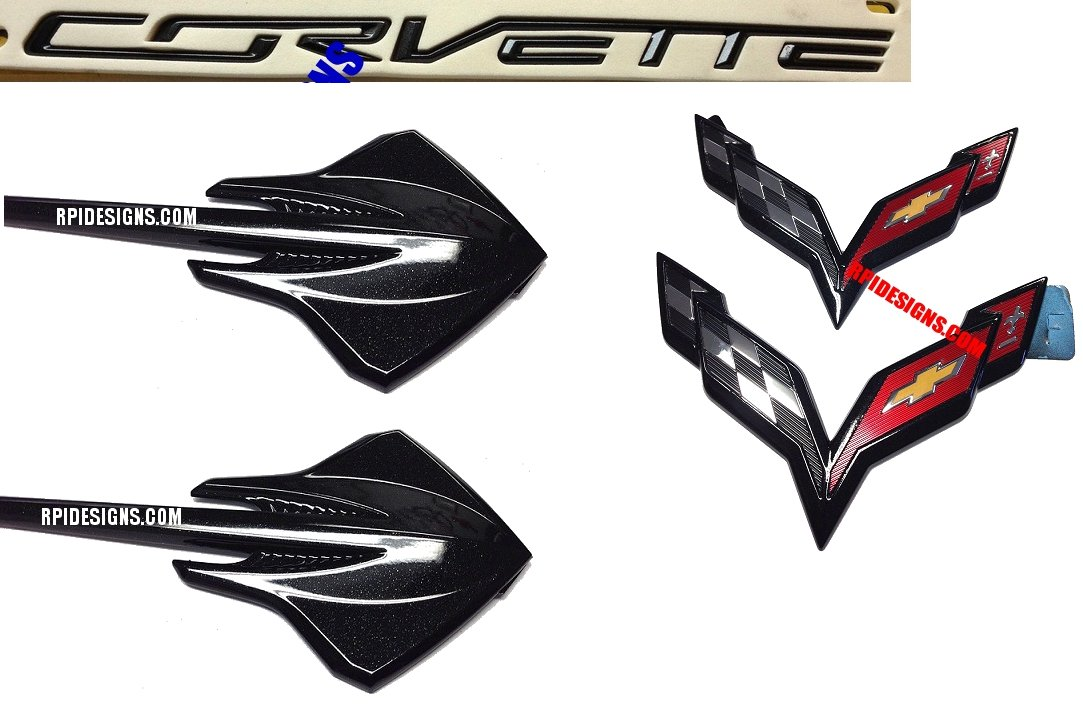 C7 Corvette Carbon Flash Metallic Emblem Package - Premium Quality ...