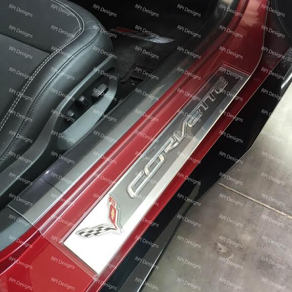 C7 Corvette Clear Door Sill Protectors With Logo