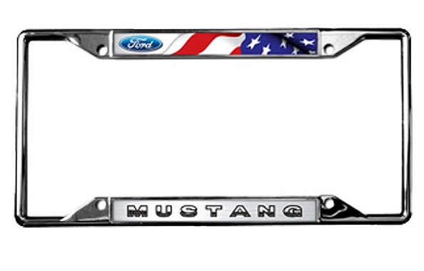 2015-2018 Ford Mustang License Plate Frame - Chrome Flags
