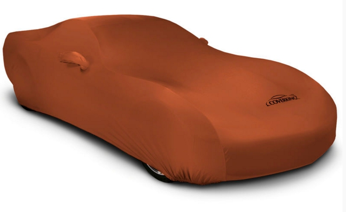 2008-2018 Dodge Challenger Coverking Satin Stretch Car Cover Inferno Orange
