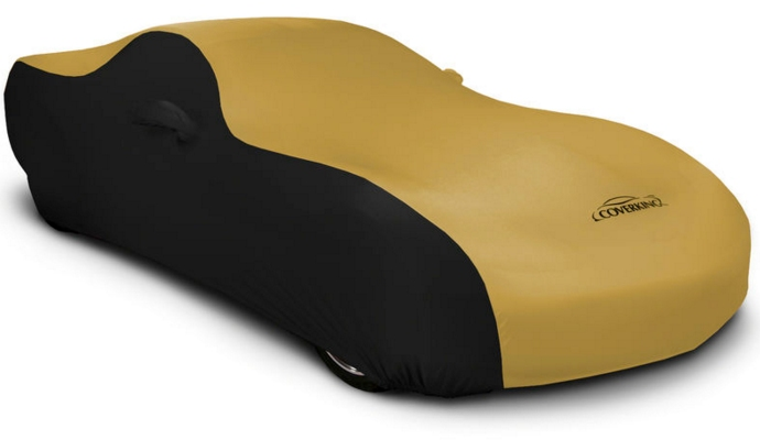 2008-2019 Challenger Coverking Stretch Car Cover Black and Gold