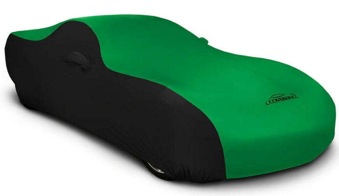 2008-2019 Dodge Challenger Stretch Car Cover Black/Synergy Green